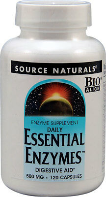Essential Digestive Enzymes 500mg 120 Caps, Source Naturals, Pancreatin, Lipase