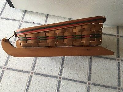 """1991 Sleigh Basket Home Brand Is 19th Century. 18.5"""" Long. Good Condition"""