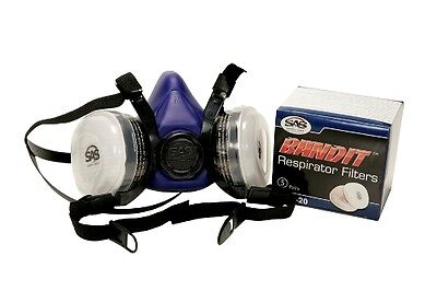 Maxisafe Half Mask Respirator Protective Paint Fumes Chemical 2 Cartridges Large