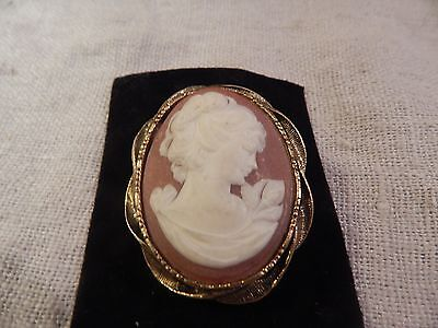 Vintage Cameo Brooch with Woman Design 2""
