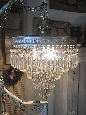 "Antique 5 Tear Wedding Cake Chandelier Silver Plate Stunning 1910-20 15"" X 24""L"