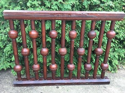 Antique Carved Turned WALNUT NEWEL POST Spindles Balustrade Victorian Salvage