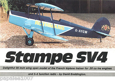 """Model Airplane Plans (RC): STAMPE SV4 39""""ws Scale Biplane for .15-.20ci Engine"""
