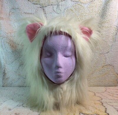 Halloween Fur Animal Hood Furry Dress Up Cat Faux Fur Adult Size White Pink