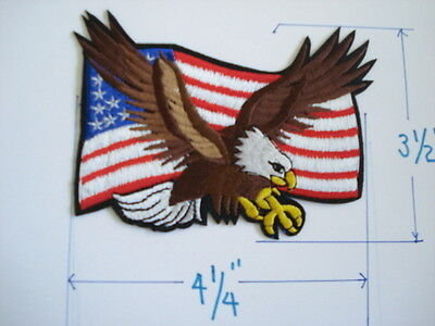 "1 pc FLAG & STRIKING EAGLE EMB PATCH SEW/IRON-ON 4-1/4""X3-1/2"""