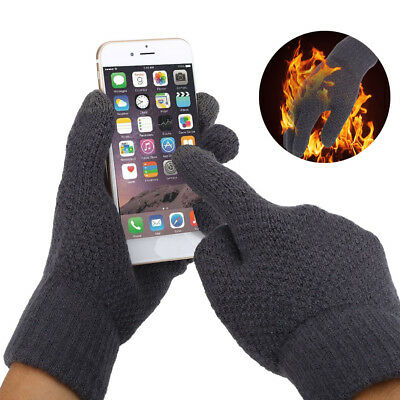Unisex Knitted Cycling Mountain Bike Thermal Touch Screen Full Finger Gloves