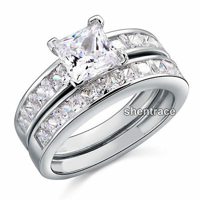 925 STERLING SILVER Square CZ Engagement Wedding Bridal Ring Set Size 5 / J