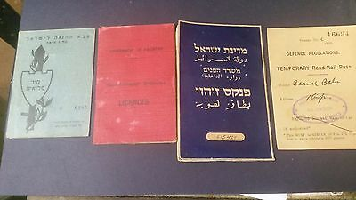 lot of 4 idf palestine british mandate documents very good condition WOW!!