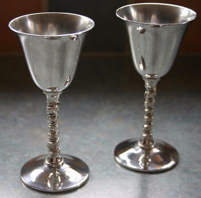 Vintage Pair of Silver Plated Small Goblets with Pretty decorated twisted stems