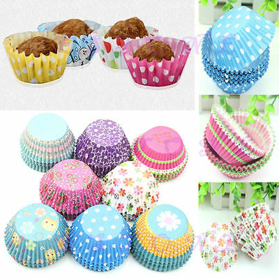 100Pcs Paper Cake Cup Cupcake Cases Liners Muffin Kitchen Baking Wedding Party