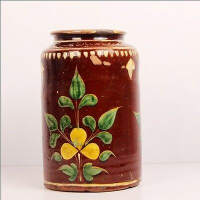1900S Antique Indian Vintage Ceramic Kitchenware Pickle Jar Pot Handpainted 6587