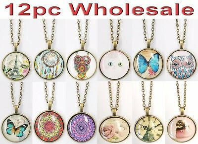 12pc Wholesale Long Glass Jewellery Necklace Owl Cat Butterfly Rose Mixed