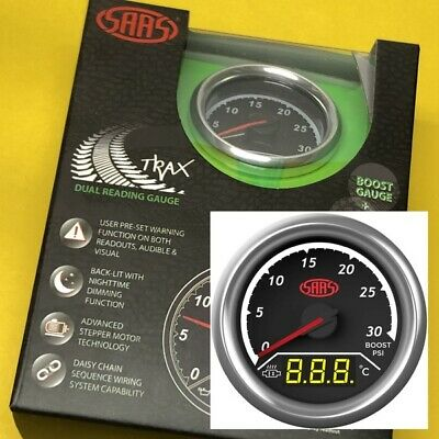 "52mm Boost 30PSi & EGT Pyro 0-900 gauge Dual digital/analogue SAAS 2"" black face"