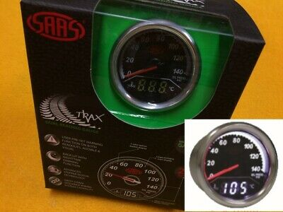 "52mm Oil pressure & water temperature gauge Dual digital/analogue SAAS 2"" black"