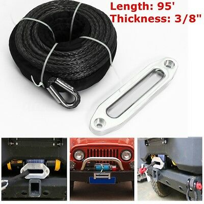 16500LBS Synthetic Winch Rope 3/8'' x 95'' with Stainless Steel Hawse Fairlead
