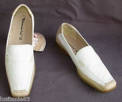 Tamaris - Shoe Relaxation Mocassin All Leather White & Beige 40 - New