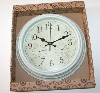 Wall Clock - CREAM Case Weather Station Clock with Thermometer (Fahrenheit) 30cm