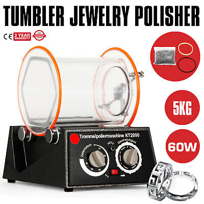 5Kg Rotary Tumbler Jewelry Polisher Finisher Polishing Automatic 5 Speed Hot
