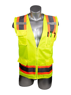 NEW-High Visibility Yellow Safety Surveyor Vest - 2XL - Yellow
