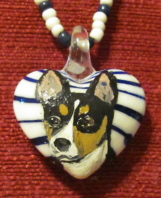 Basenji hand painted on heart shaped glass pendant/bead/necklace
