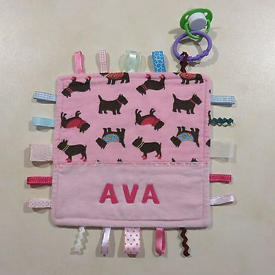 Baby Girls Personalised Taggy Security Blanket - SAMPLE NAME AVA AS SHOWN ONLY