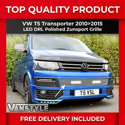 Vw T5 Transporter Chrome Front Mesh Grille With Drl Daytime Running Lights Led