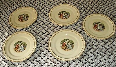 Vintage GODEY PRINT SAUCERS By Harker Pottery Total of 5
