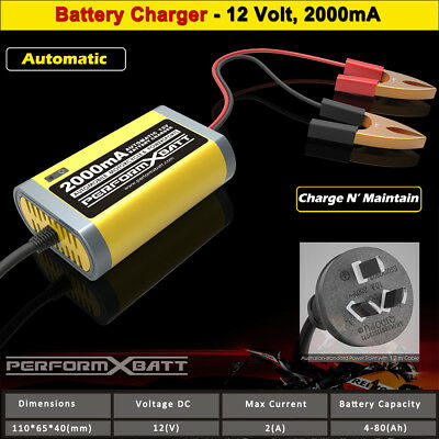 12V Trickle Battery Charger  2A Lead Acid MF AGM Gel Car Motorcycle Mower UPS