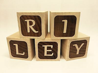 Personalised Wooden Letter Baby Blocks 50mm Cubes Engraved