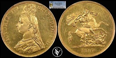 1887 Victoria 5 pound gold sovereign MS62 PCGS