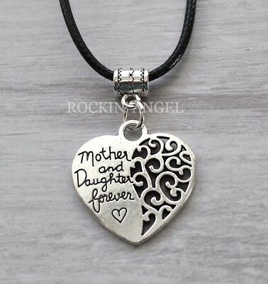 Antique Silver Plt Mother & Daughter Forever Pendant Necklace Ladies Girls Gift