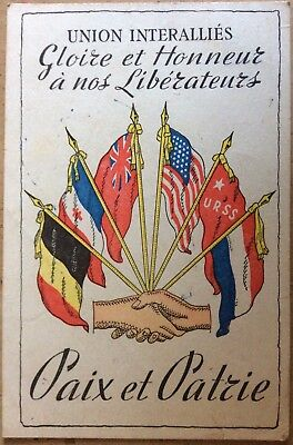 Vintage Ww2 Era Pc Glory & Honour To Our Liberators Allied Flags And Hands Shake
