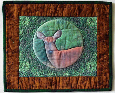 Wall Hanging Quilted Handmade Deer Picture Printed onto Fabric HMJQuiltsPlus
