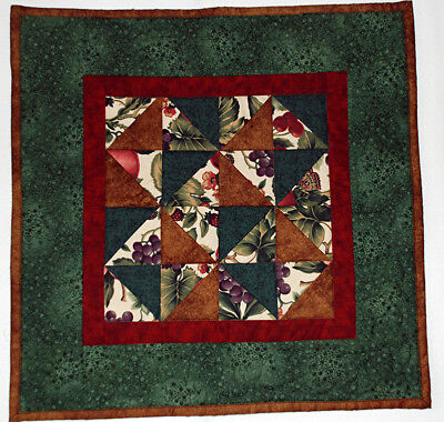 Table Topper Table Runner Handmade Quilted Pieced Green Burgundy HMJQuiltsPlus