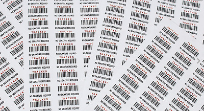 1000-10k FAKE TRACKED DELIVERY NO SIGNATURE REQD INR Barcode Labels BCN-30-ROLL