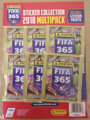 Fifa 365 ~ 2018 Panini Football Sticker Collection ~ Multipack Inc 6 Packs