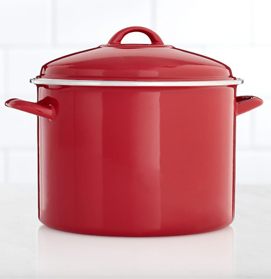 New Food Network 10 Quart Red Enameled Steel  Lightweight Stock Pot