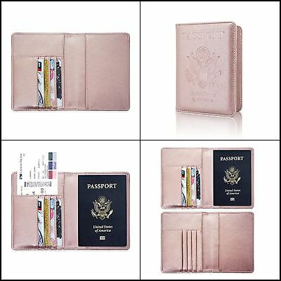 Slim PU Leather Passport Cover Wallet Holder RFID Blocking Card Travel Rose Gold
