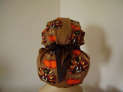 Bouffant/Ponytail Combo Scrub Hat- Turkey/Pumpkin - Multi color - One Size