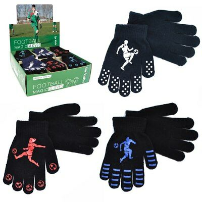 Boys Kids Thermal Magic Gripper Gloves Football Designs Xmas Winter One Size New