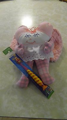 Handmade CUTE Girl TOOTH FAIRY DOLL Pink with Tooth Pocket & Tooth Brush!