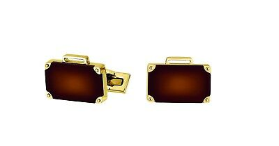 ST Dupont Ligne 2 Murder on the Orient Express Brown Lacquer Gold Cufflinks Set
