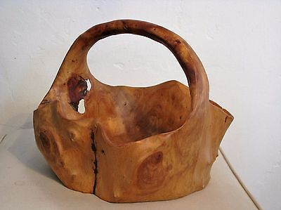 Large Natural Hand Carved Nubby Burl Wood Root Bowl/Basket with Curved Handle #1