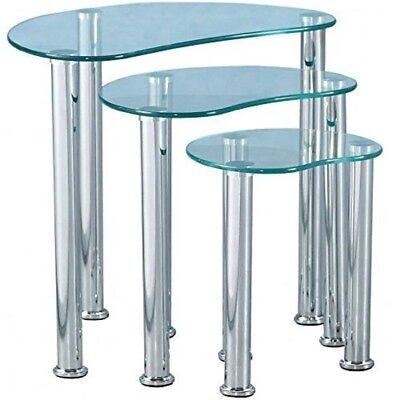 Set Of 3 Glass Nest Of Side Tables Coffee Set Living Room Furniture Modern Style