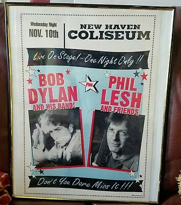 "Bob Dylan & Phil Lesh●Concert Poster●New Haven Coliseum●19 1/2""×13 3/4""●Original"