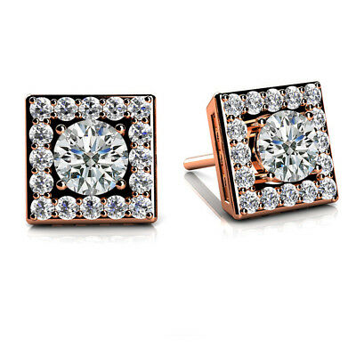 0.68 ct D VVS1 Round Cut Square Halo Stud Earrings In Sterling Silver