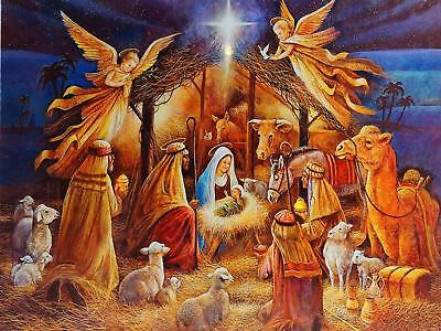Christmas Decoration Light Up LED 30 x 40cm Canvas Wall Picture - Nativity