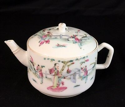 19th Century Tongzhi Period Antique Chinese Porcelain Famille Rose Teapot