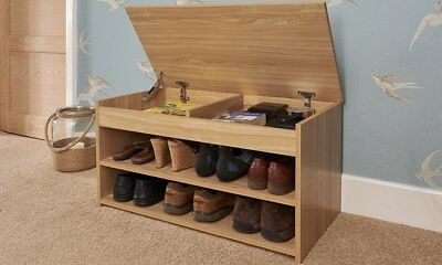 Shoe Storage Cabinet Rack Wooden Hallway Storage Bench with Lift Up Lid - Oak