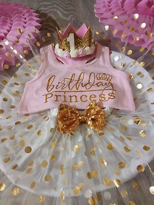baby girl first 1st Birthday outfit princess tutu crown cake smash photo shoot
